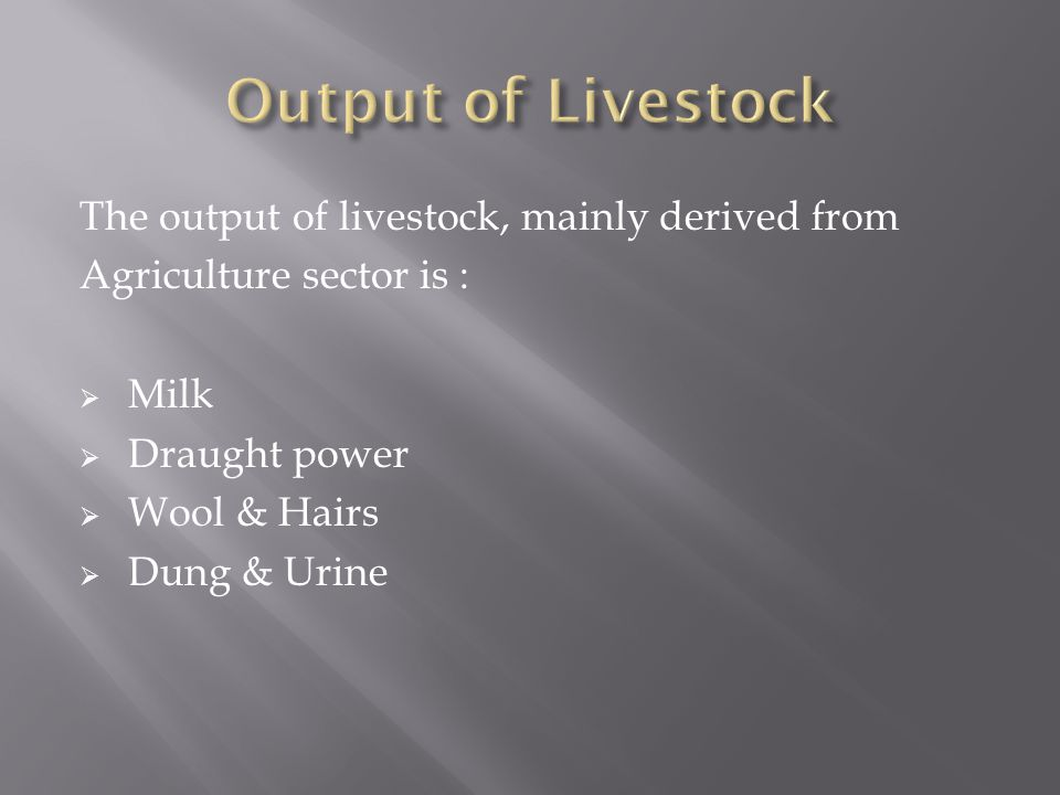 Output of Livestock The output of livestock, mainly derived from