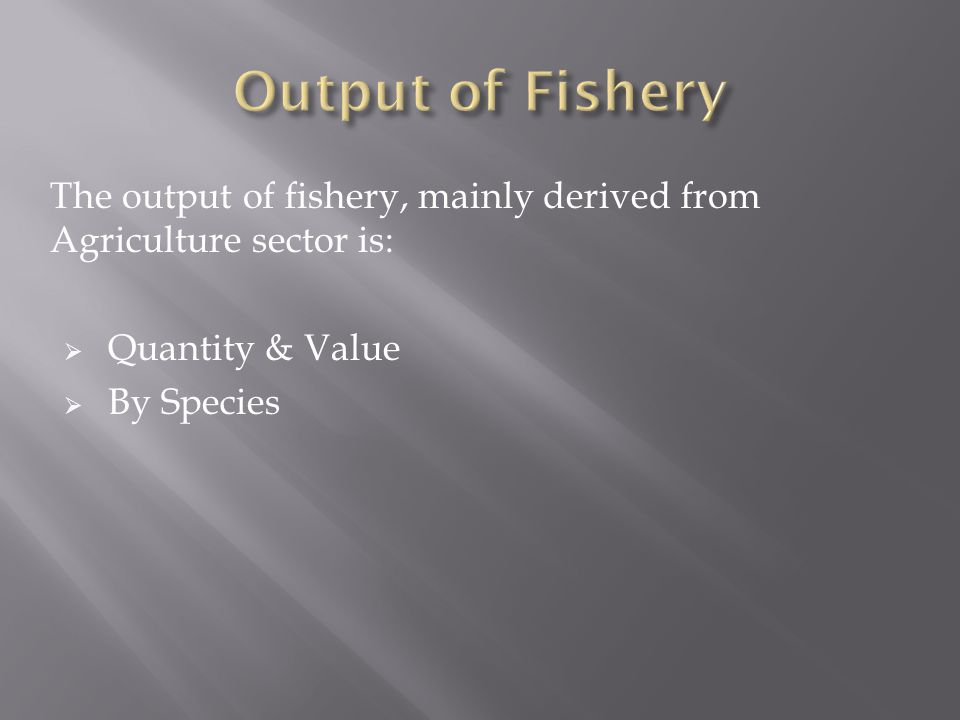 Output of Fishery The output of fishery, mainly derived from Agriculture sector is: Quantity & Value.