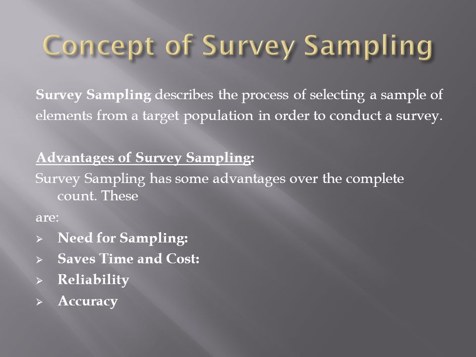 Concept of Survey Sampling