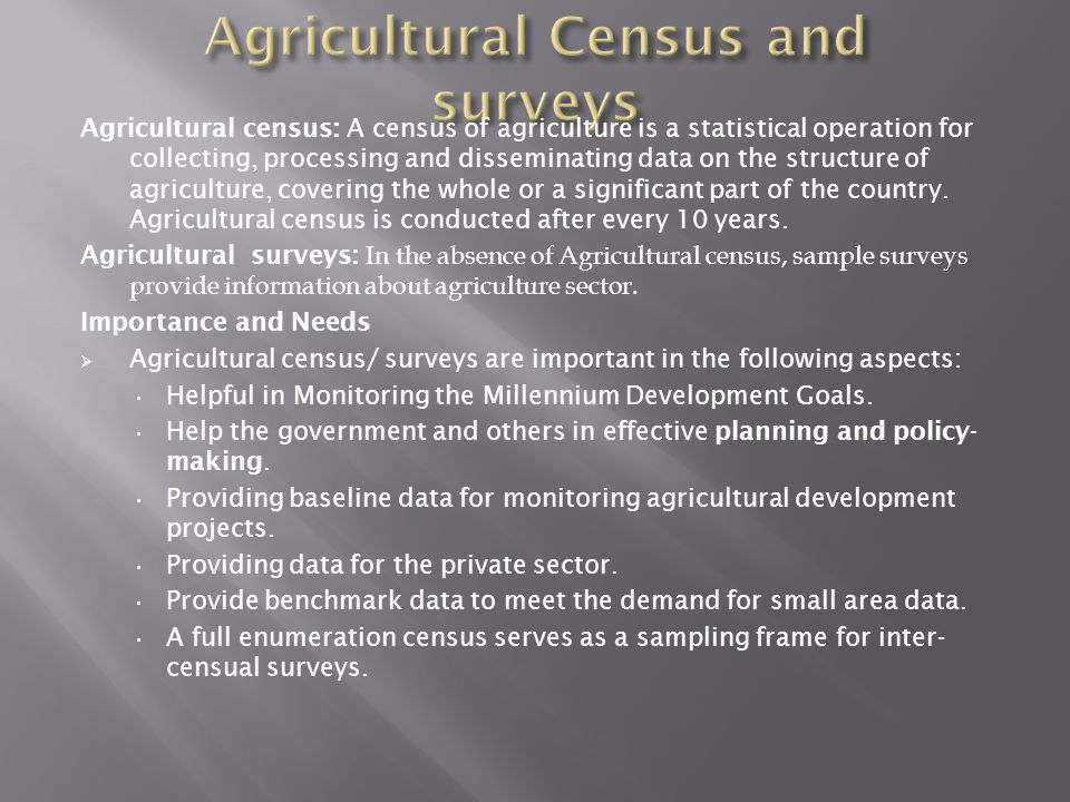 Agricultural Census and surveys