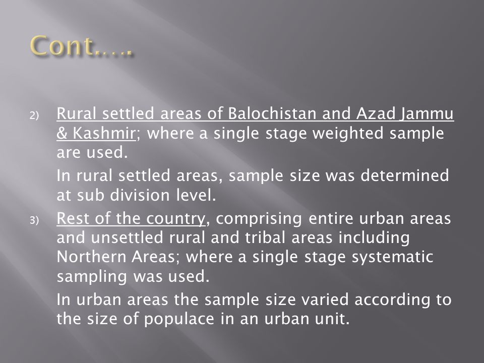 Cont.…. Rural settled areas of Balochistan and Azad Jammu & Kashmir; where a single stage weighted sample are used.