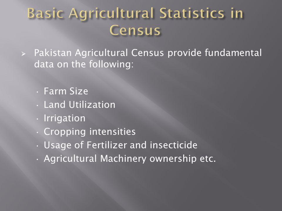 Basic Agricultural Statistics in Census