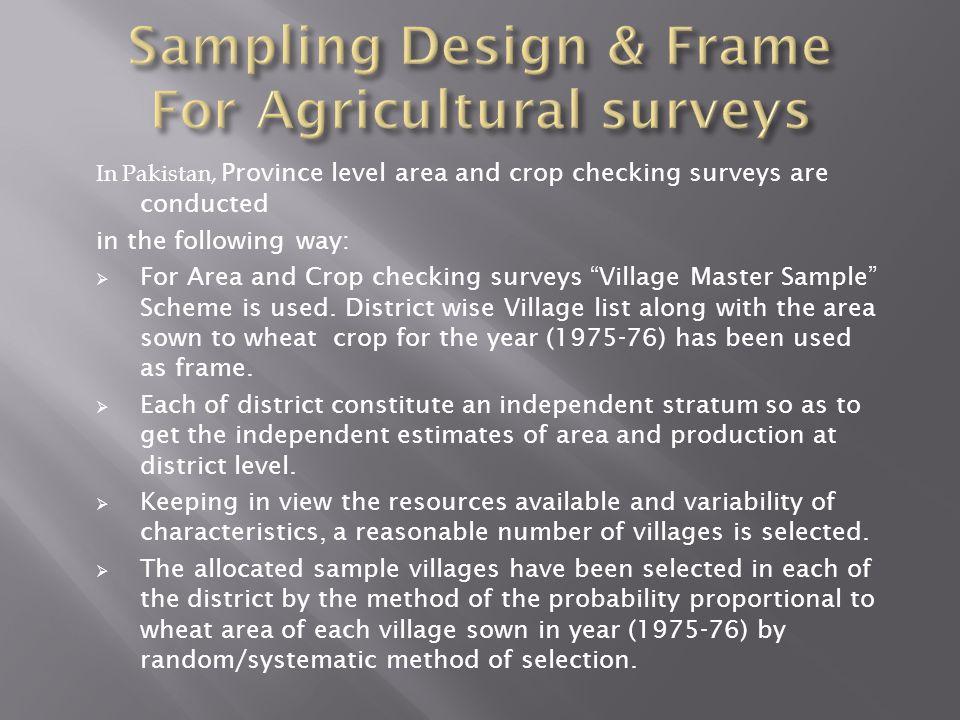 Sampling Design & Frame For Agricultural surveys