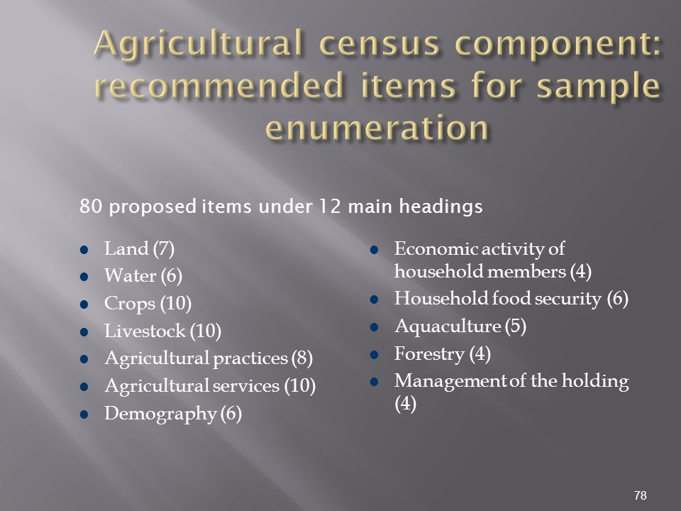 Agricultural census component: recommended items for sample enumeration