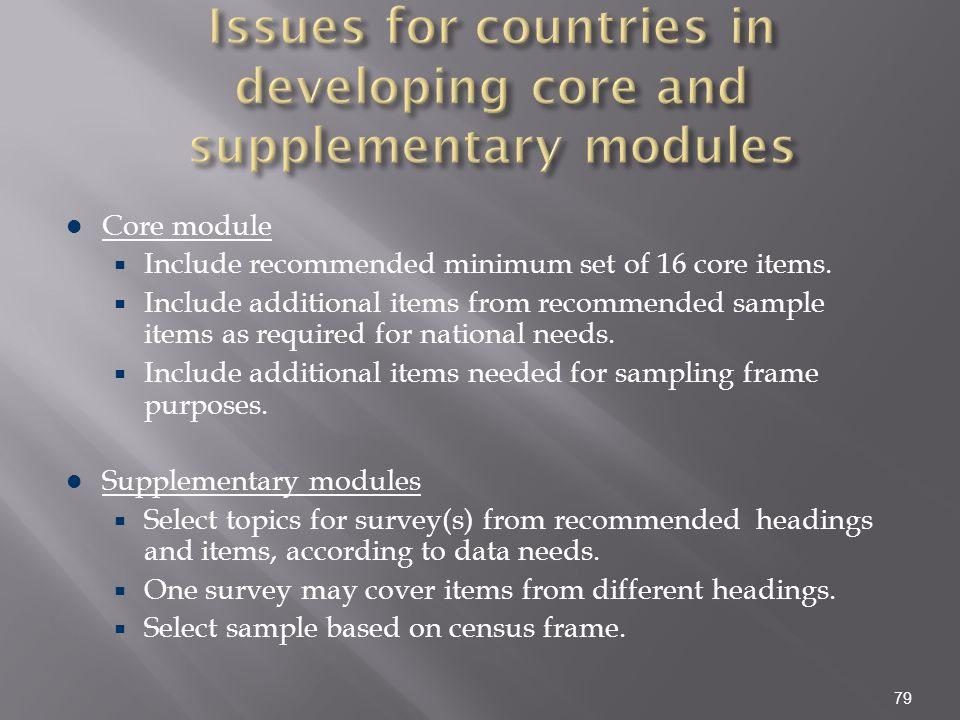 Issues for countries in developing core and supplementary modules