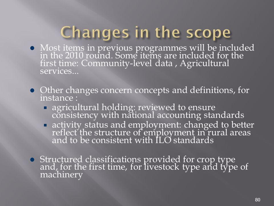 Changes in the scope