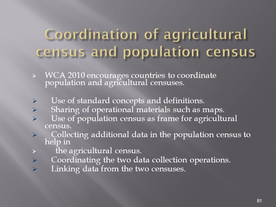 Coordination of agricultural census and population census