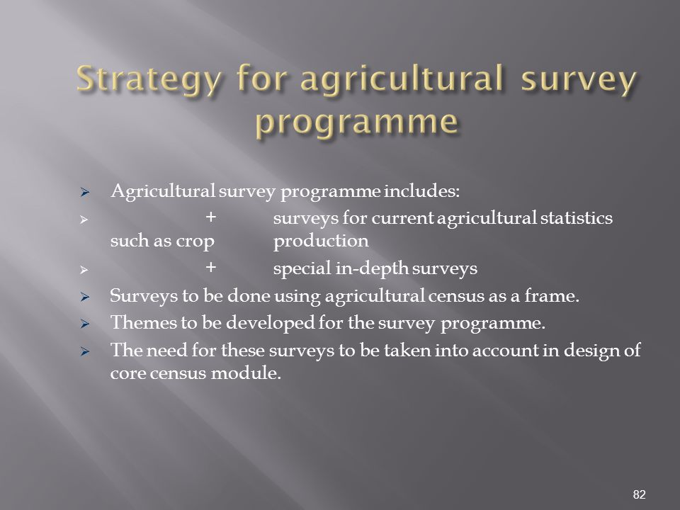 Strategy for agricultural survey programme