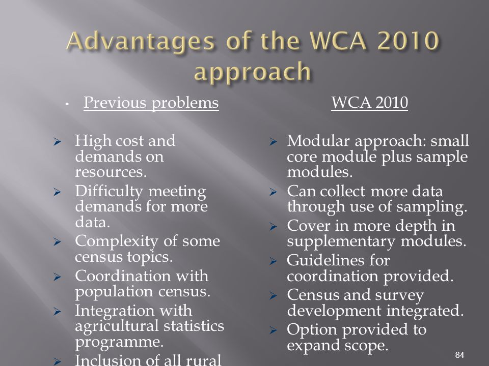 Advantages of the WCA 2010 approach