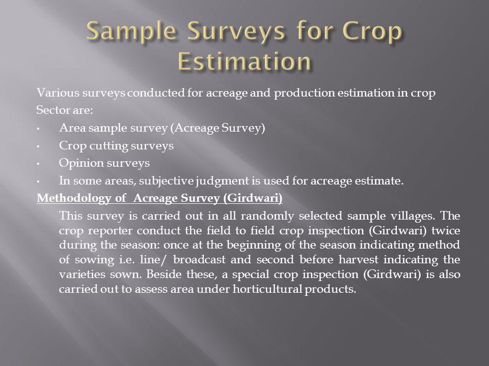 Sample Surveys for Crop Estimation