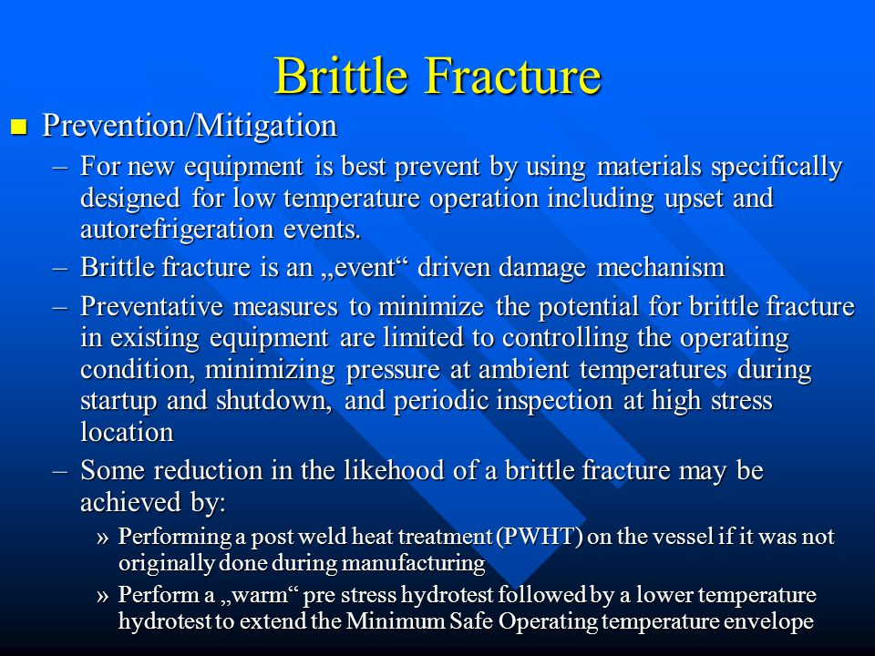 brittle fracture This chapter deals with brittle fracture especially by cleavage and embrittlement by segregation of impurities at grain boundaries or by irradiation.