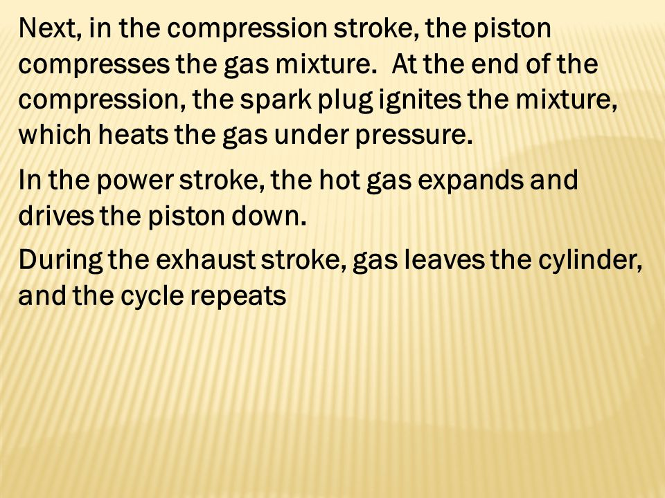Next, in the compression stroke, the piston compresses the gas mixture