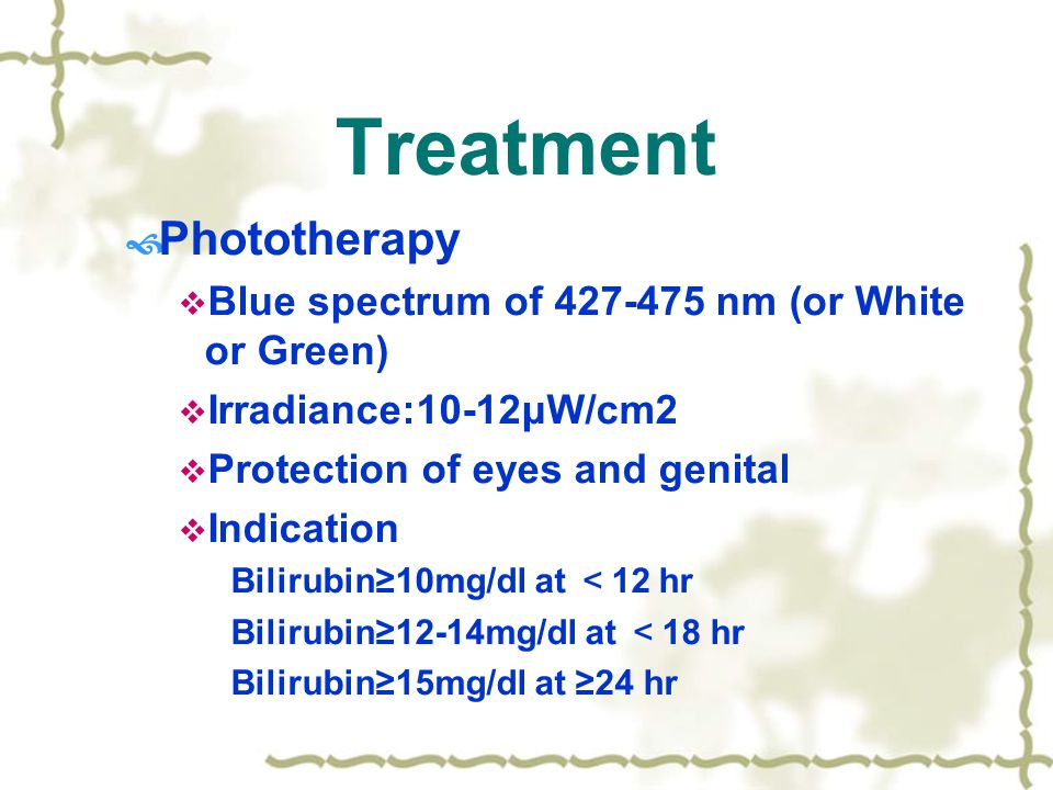 Treatment Phototherapy Blue spectrum of nm (or White or Green)