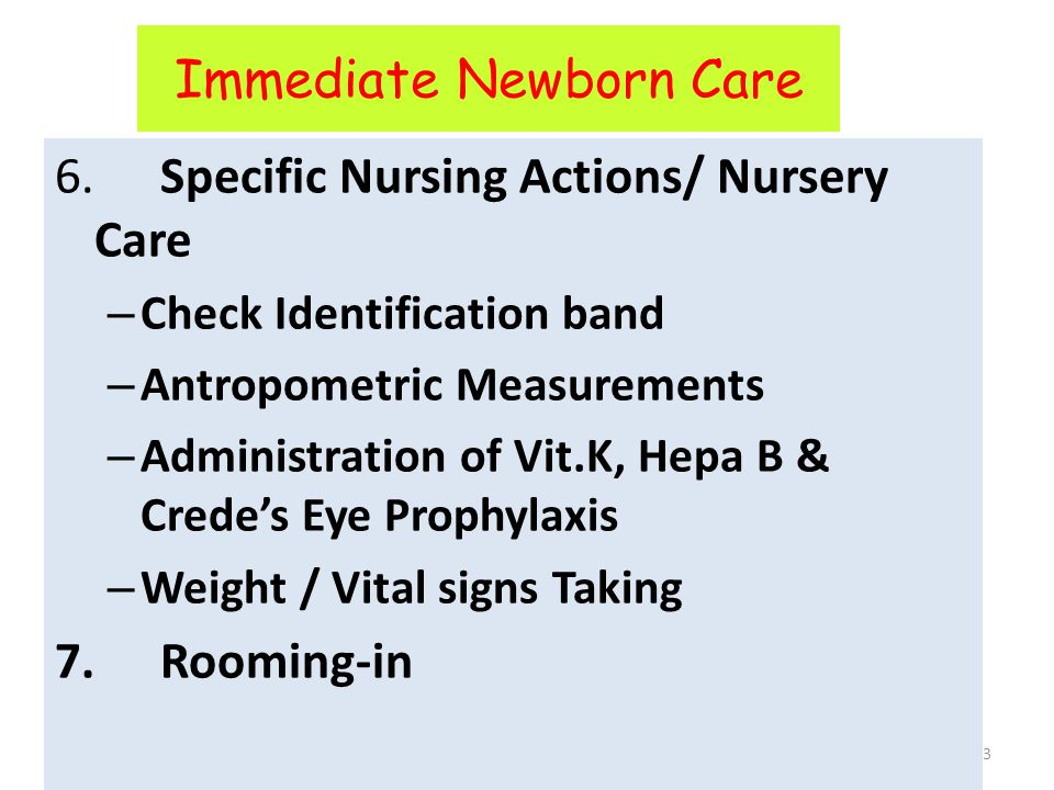 Immediate Newborn Care