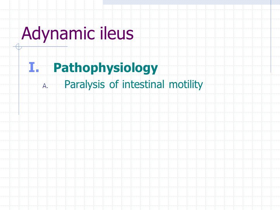 Adynamic ileus Pathophysiology Paralysis of intestinal motility