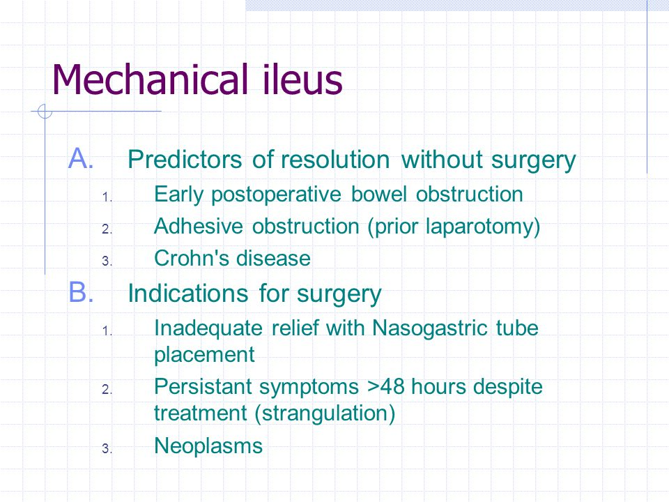 Mechanical ileus Predictors of resolution without surgery