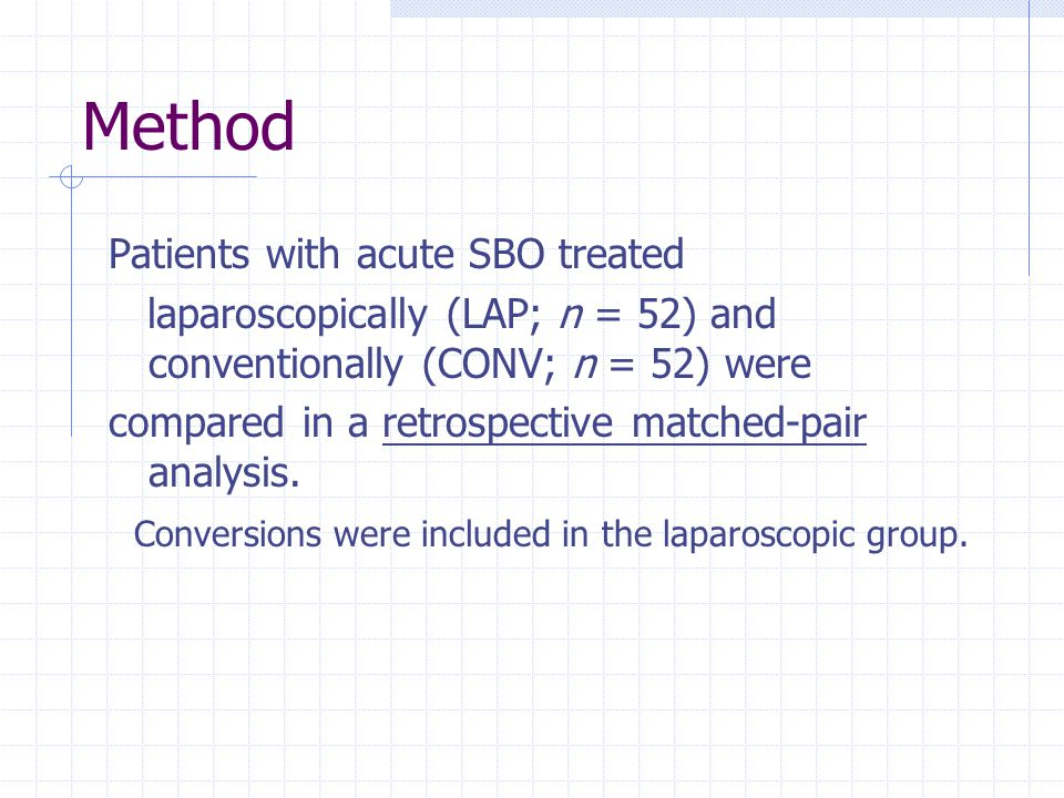 Method Patients with acute SBO treated