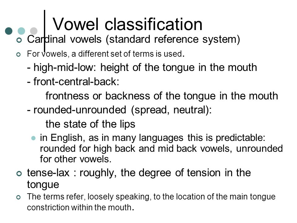 Vowel classification Cardinal vowels (standard reference system)