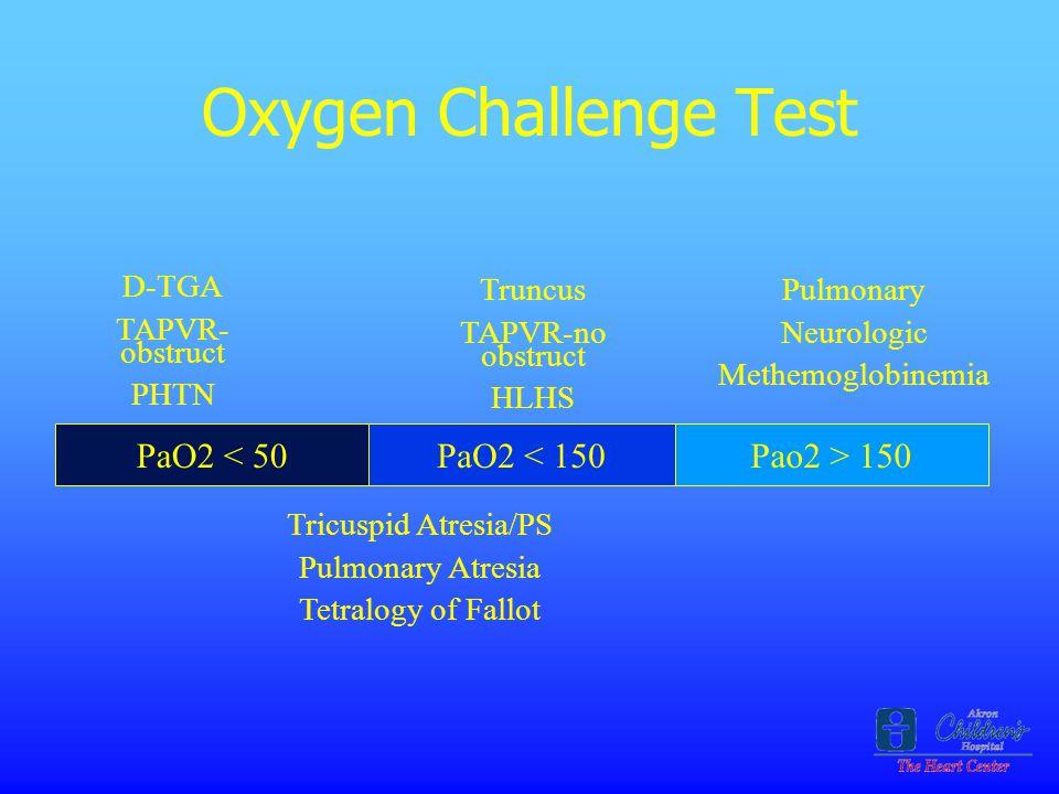 Oxygen Challenge Test PaO2 < 50 PaO2 < 150 Pao2 > 150 D-TGA