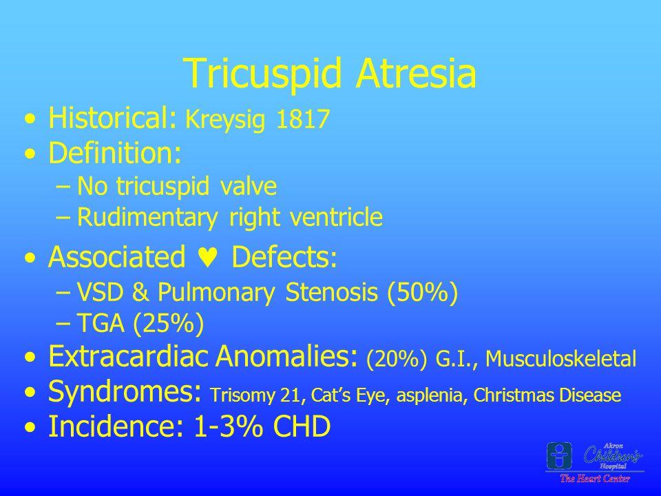 Tricuspid Atresia Historical: Kreysig 1817 Definition: