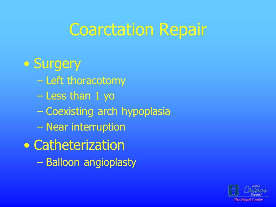 Coarctation Repair Surgery Catheterization Left thoracotomy