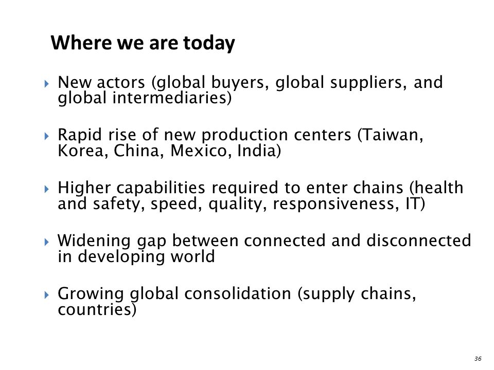 Where we are today New actors (global buyers, global suppliers, and global intermediaries)
