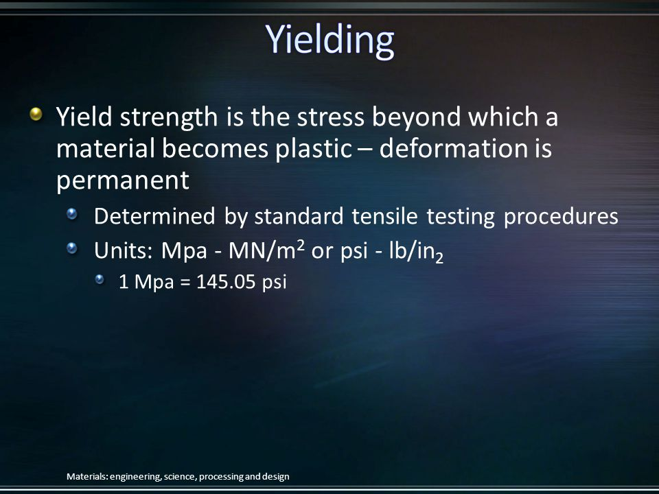 Yield strength is the stress beyond which a material becomes plastic – deformation is permanent