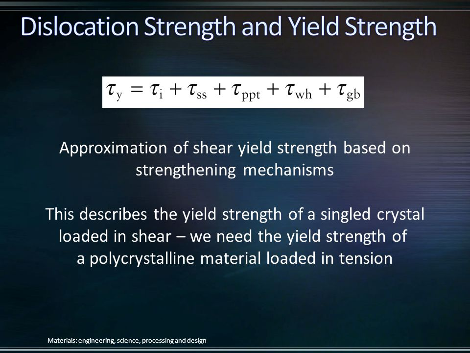 Approximation of shear yield strength based on