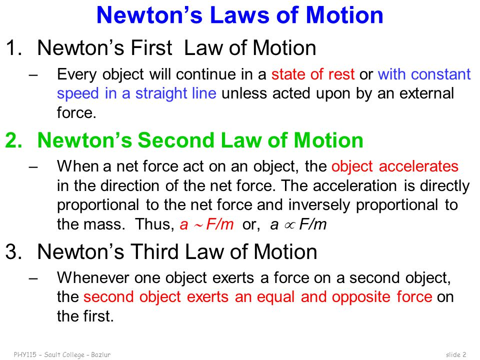 newtons second law of motion Newton's second law of motion relates to the motion of an object when an unbalanced force causes a change in velocity how quickly or slowly the object's velocity changes is called acceleration hubbell: newton's second law really states or introduces the idea of acceleration.