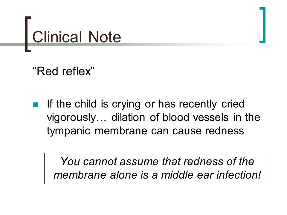 Clinical Note Red reflex