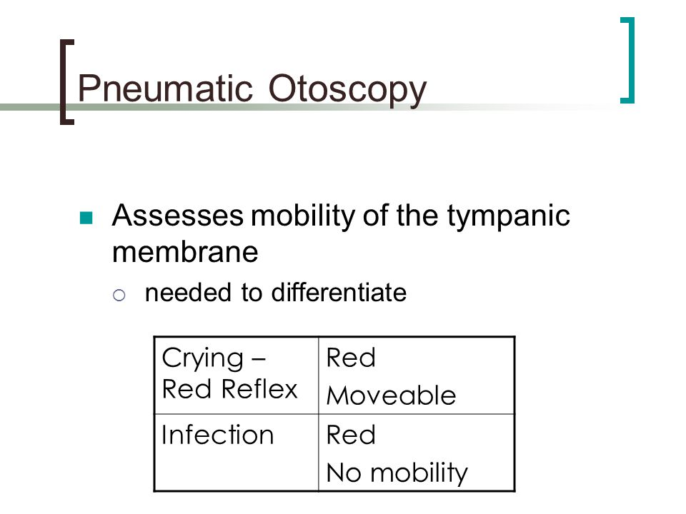 Pneumatic Otoscopy Assesses mobility of the tympanic membrane