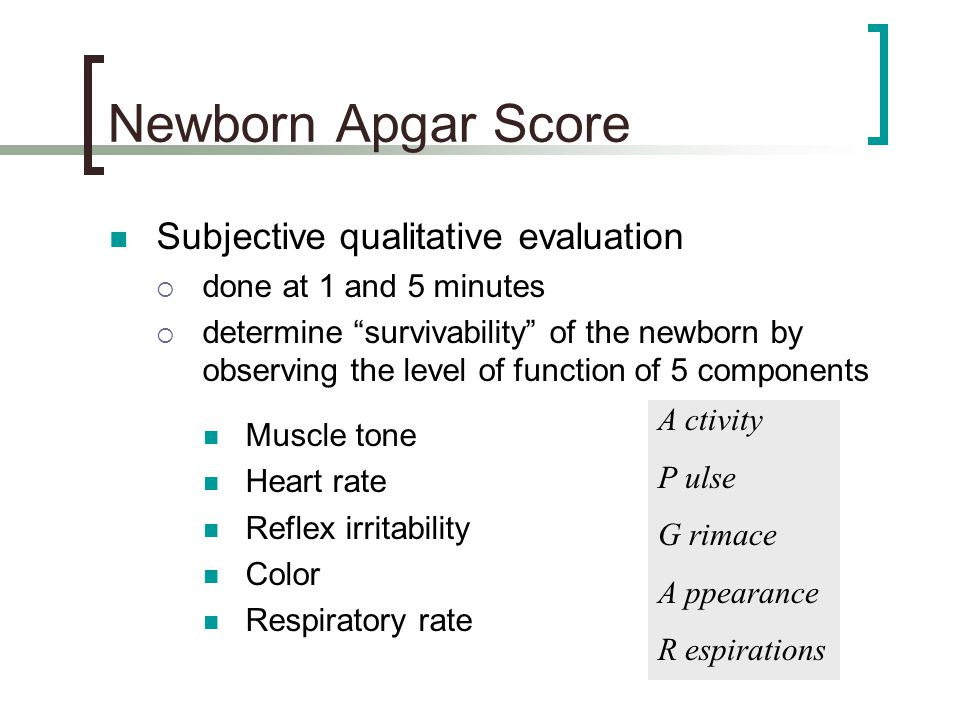 Newborn Apgar Score Subjective qualitative evaluation
