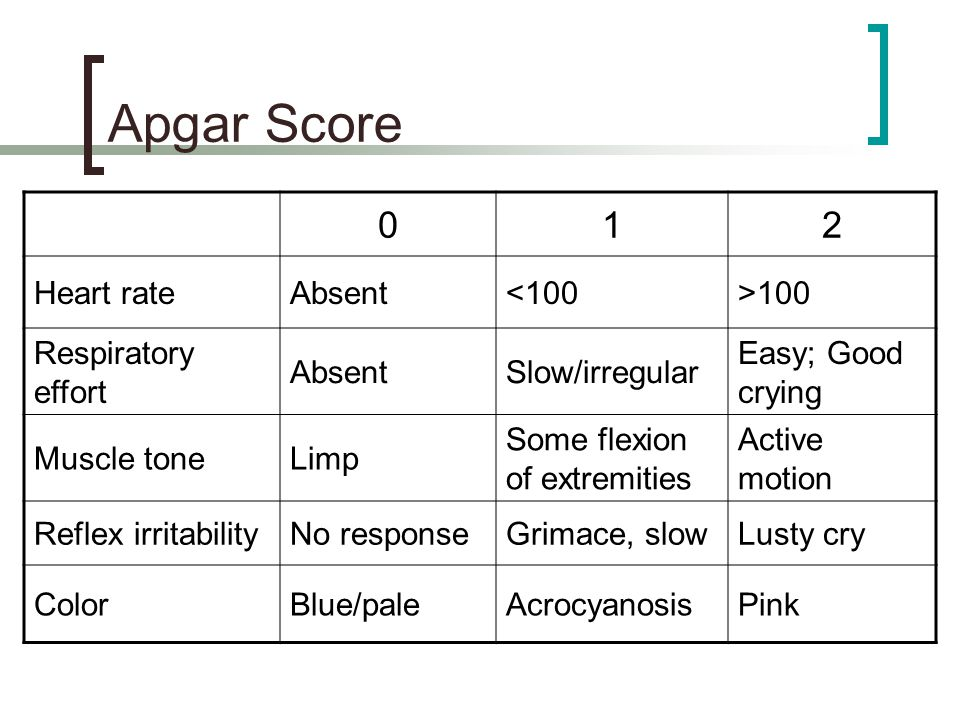 Apgar Score 1 2 Heart rate Absent <100 >100 Respiratory effort