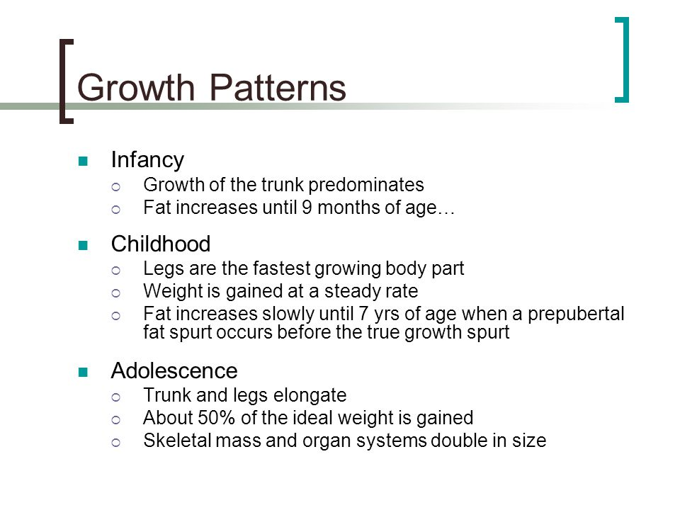 Growth Patterns Infancy Childhood Adolescence