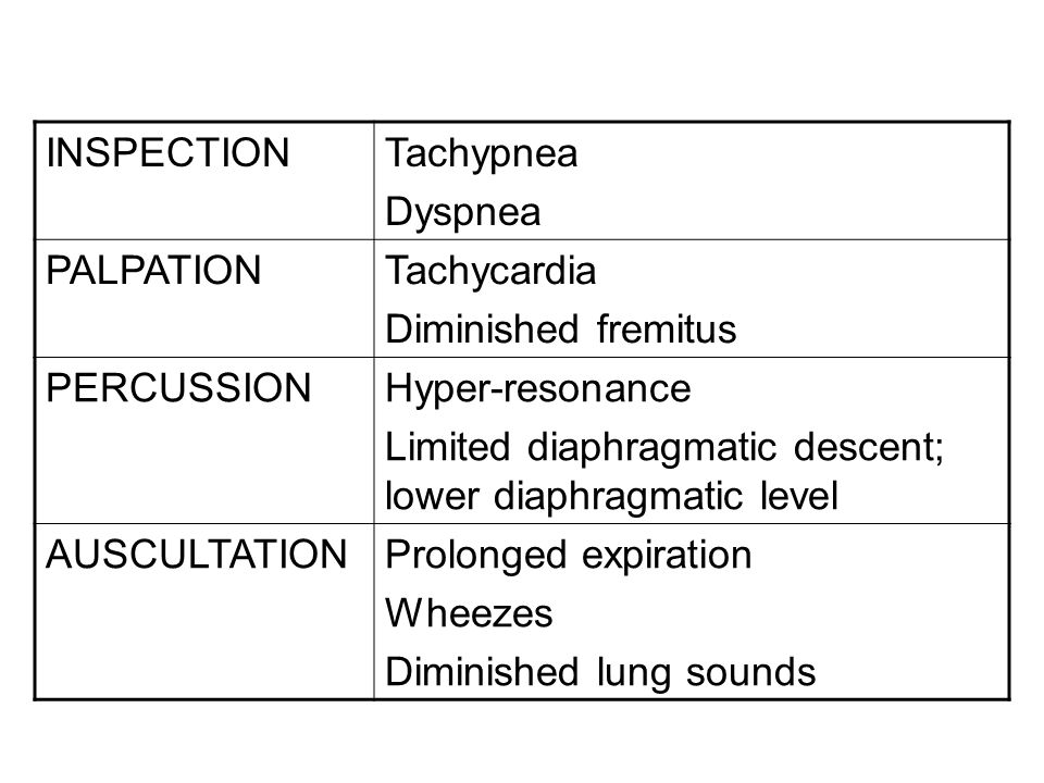 INSPECTION Tachypnea. Dyspnea. PALPATION. Tachycardia. Diminished fremitus. PERCUSSION. Hyper-resonance.