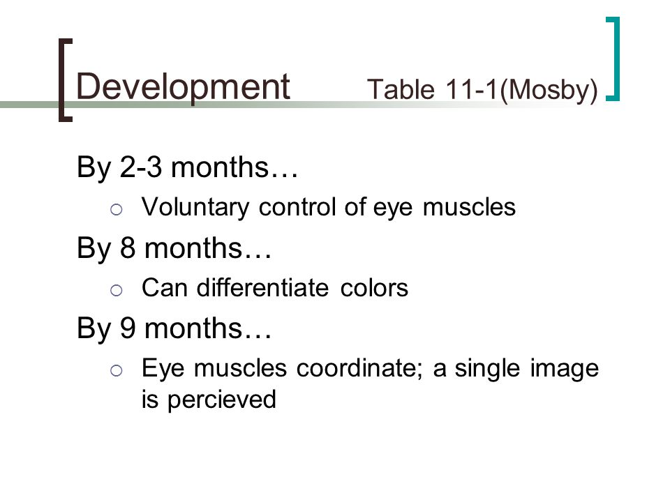 Development Table 11-1(Mosby)