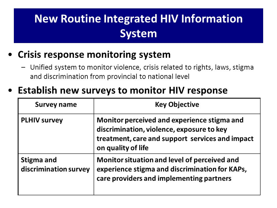 New Routine Integrated HIV Information System