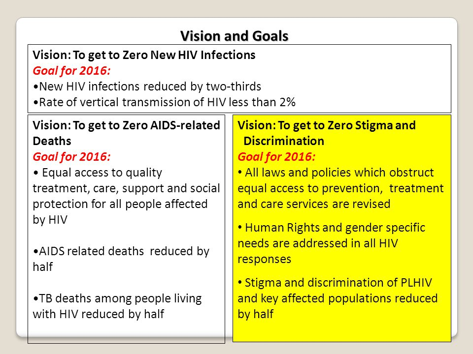 Vision and Goals Vision: To get to Zero New HIV Infections