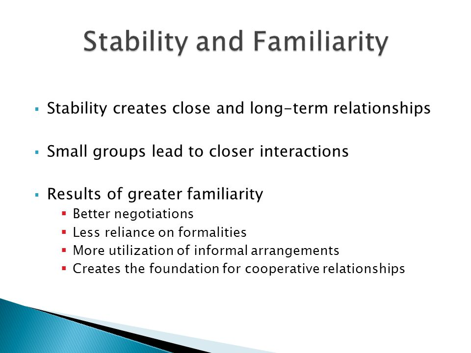 Stability and Familiarity