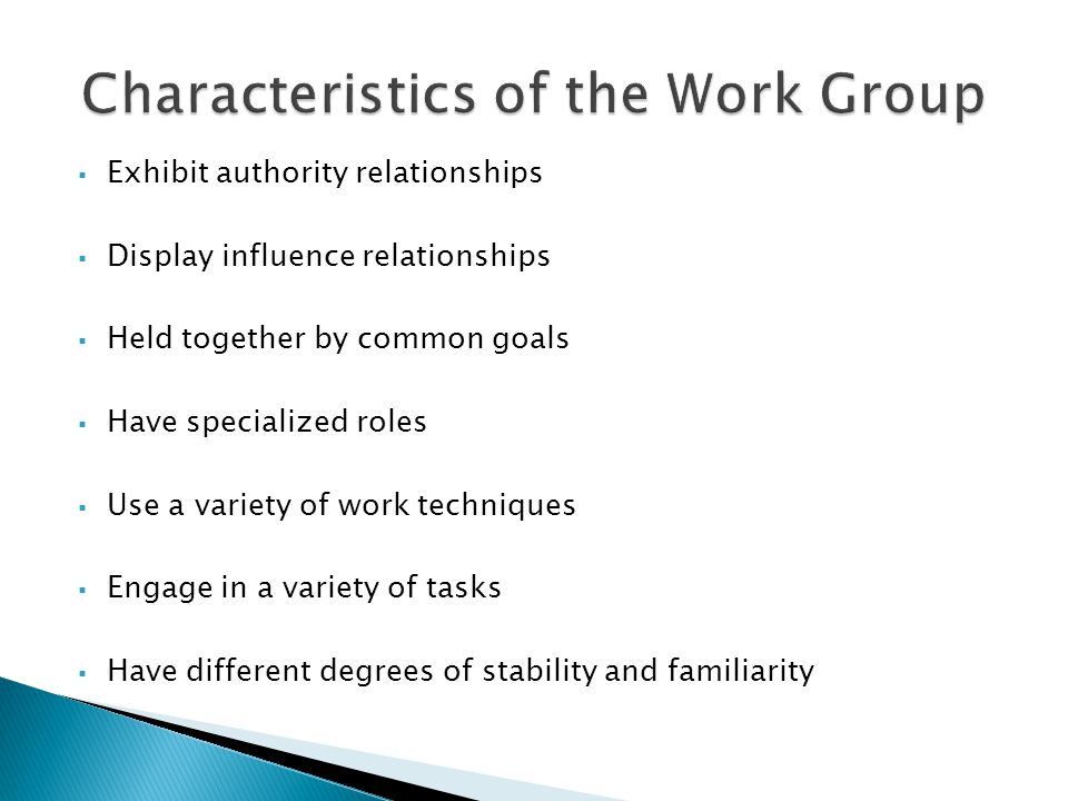 Characteristics of the Work Group