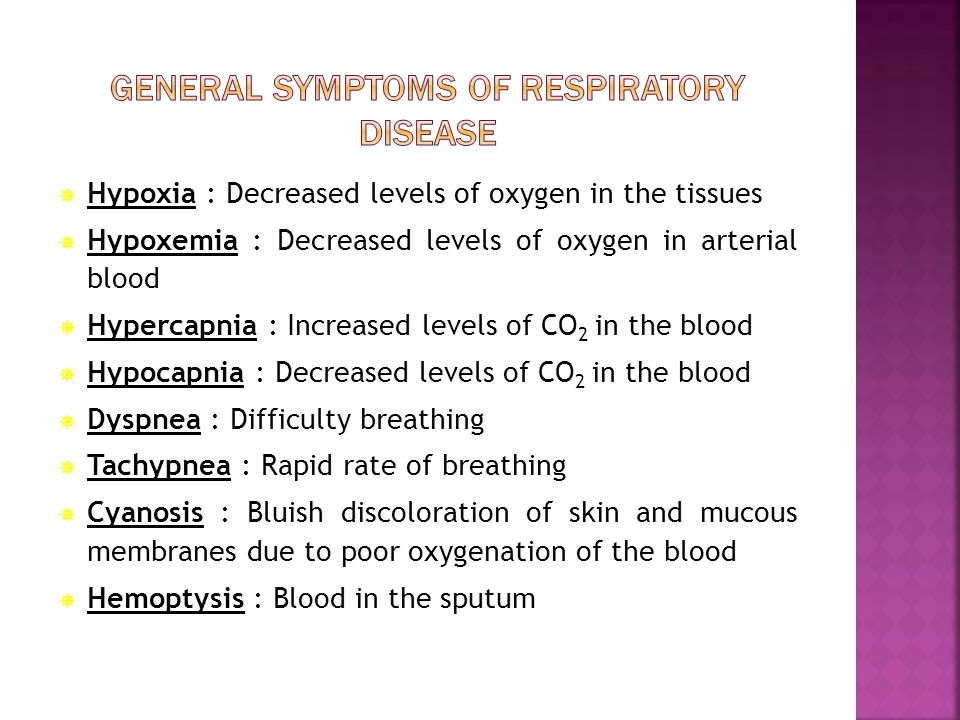 General symptoms of respiratory disease