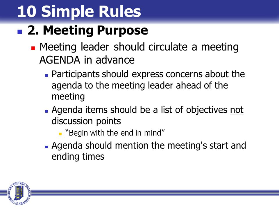 10 Simple Rules 2. Meeting Purpose