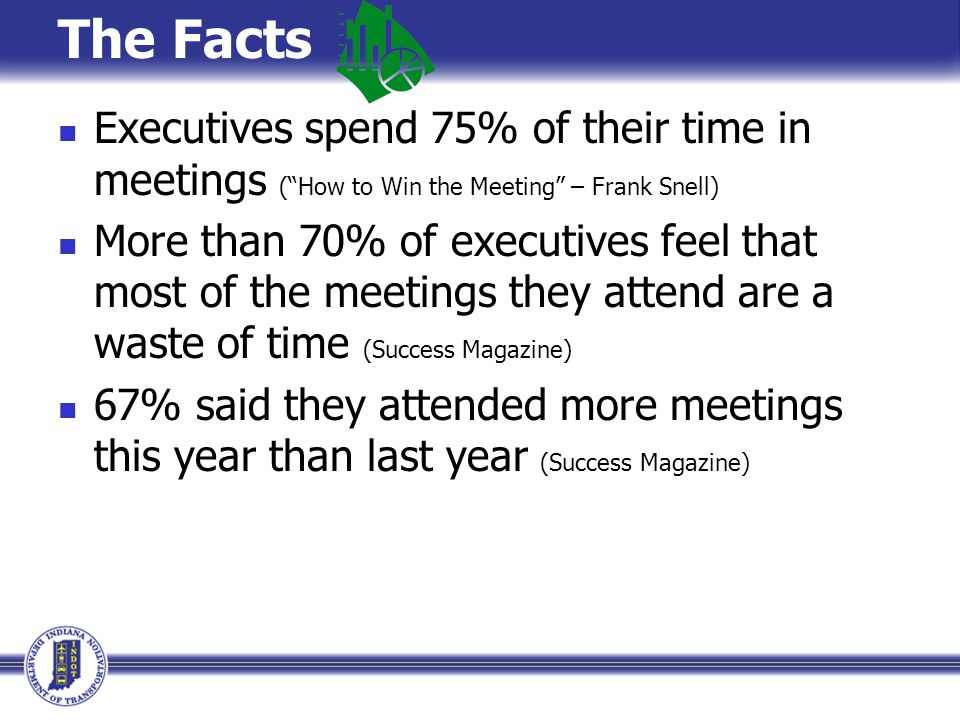 The Facts Executives spend 75% of their time in meetings ( How to Win the Meeting – Frank Snell)