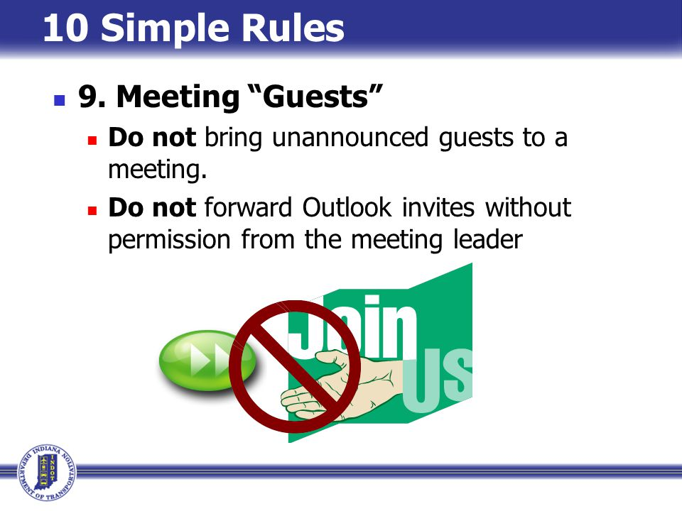 10 Simple Rules 9. Meeting Guests