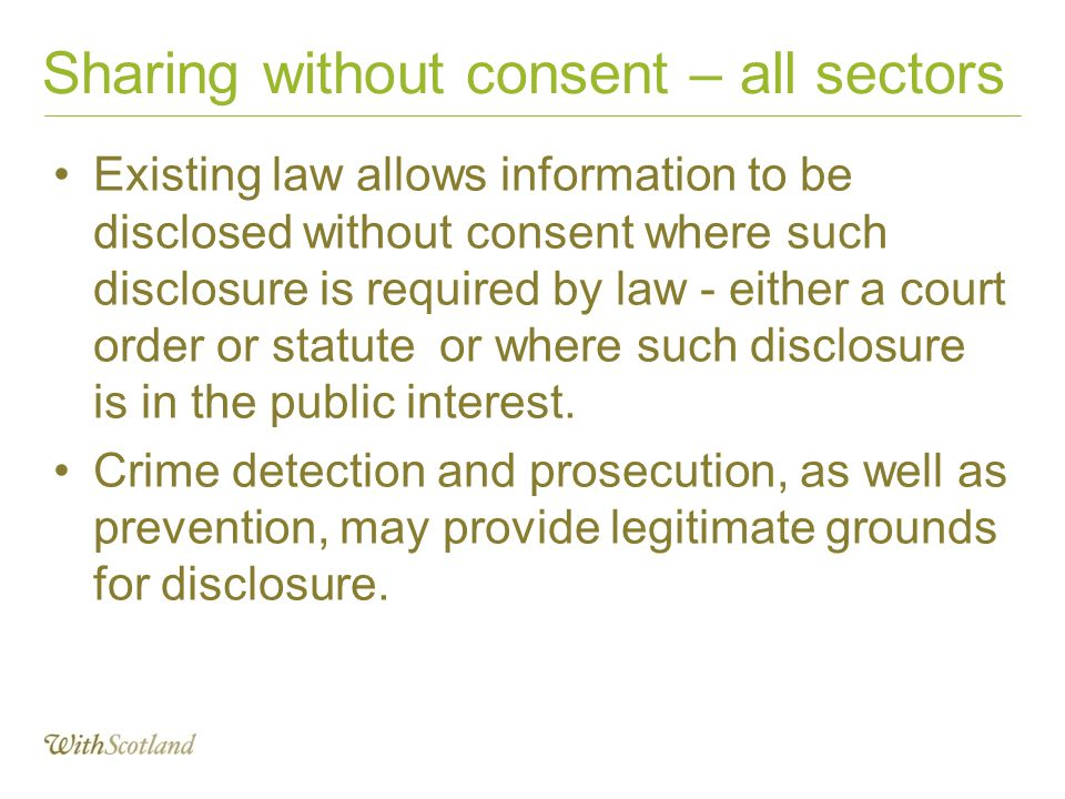 Sharing without consent – all sectors