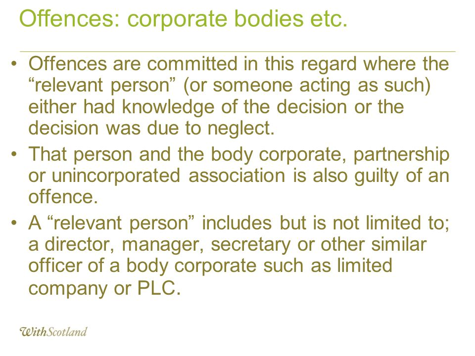 Offences: corporate bodies etc.