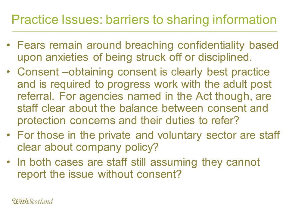 Practice Issues: barriers to sharing information