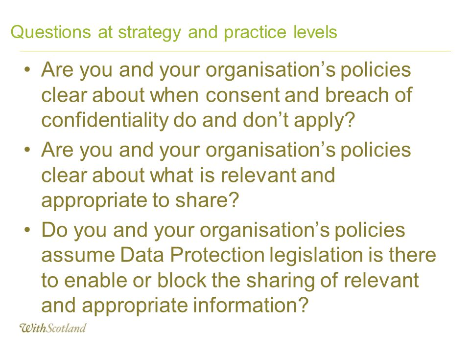 Questions at strategy and practice levels