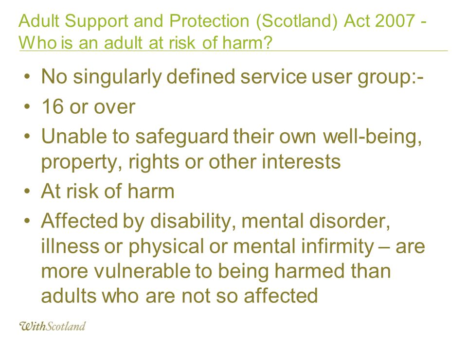 No singularly defined service user group:- 16 or over