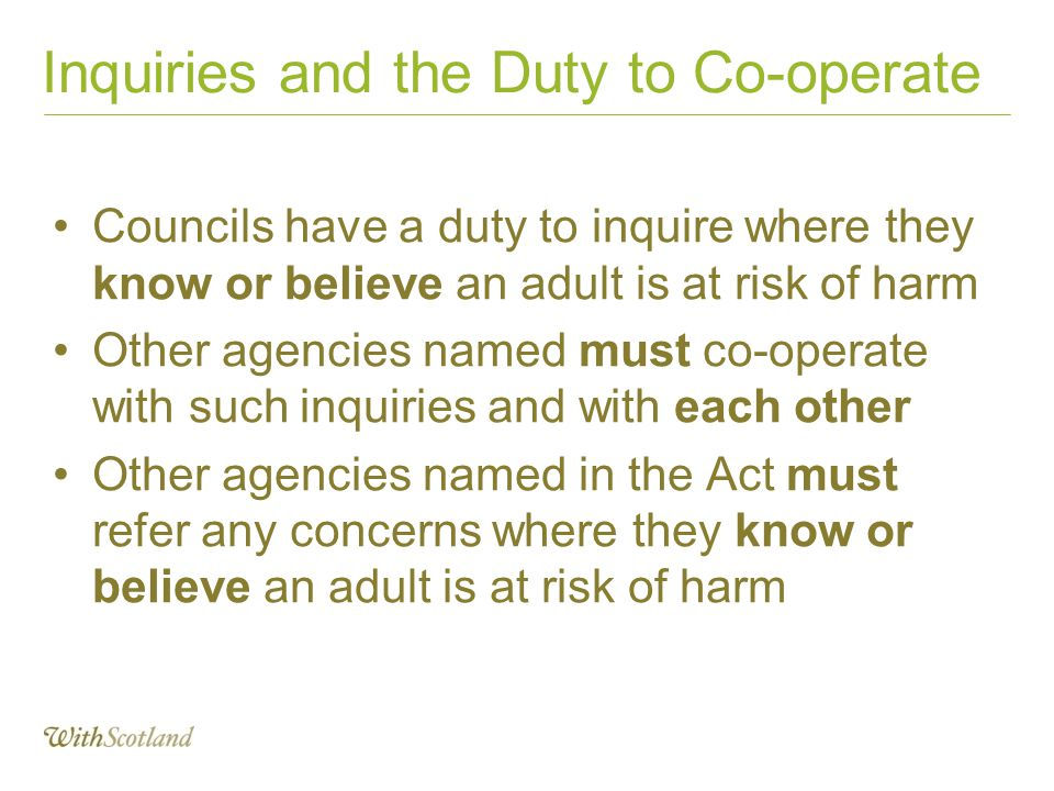 Inquiries and the Duty to Co-operate